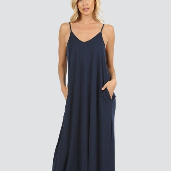 caf897e4c4e NEW NAVY PLUS MAXI OVERSIZED DRESS POCKETS FIRM. Boutique. Zenana Outfitters